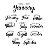Calligraphic set of quote Hello months of the year. Brush handwritten months of the year. Hand lettering names of months. Calligraphic isolated set in black vector illustration