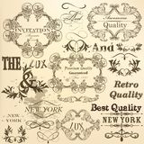 Calligraphic set of vector decorative elements in vintage style Stock Images