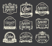 Calligraphic sign and label design set. Vintage retro labels for signs and menus. Bakery, patisserie and cakes Stock Photography