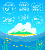 Calligraphic stamps. Summer beach background with retro calligraphic stamps set Stock Photography