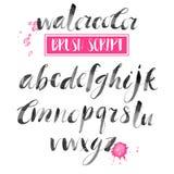 Calligraphic stilsort för handskriven vattenfärg Modern borstebokstäver Royaltyfri Bild