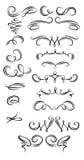 Calligraphic Strokes. Set of calligraphic strokes on white background Stock Photo