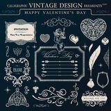 Calligraphic tappningprydnaduppsättning Lycklig valentindagdesign el Arkivbilder