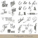 Calligraphic tappningsymboler vektor illustrationer