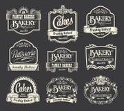 Calligraphic tecken- och etikettdesignuppsättning Arkivbild
