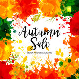 Calligraphic Text Sale on multicolor blots background. Hand draw Stock Photos