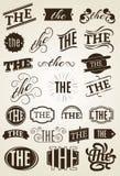 Calligraphic textgarneringuppsättning vektor illustrationer