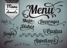 Calligraphic titles and symbols for restaurant menu and design Stock Images