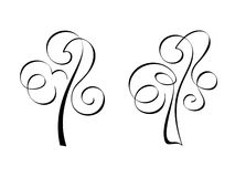 Calligraphic trees Stock Photo