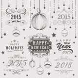 Calligraphic and typographic collection for New Year and Christm Stock Photography