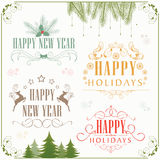 Calligraphic and typographic collection for New Year and Merry C Stock Images