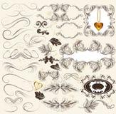 Calligraphic uppsättning av retro designbeståndsdelar och sidagarneringar Arkivfoton