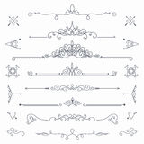 Calligraphic vector dividers. Collection of vintage patterns. Flourishes calligraphic dividers. Vector template Royalty Free Stock Photo