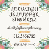 Calligraphic vector font with floral nature numbers ampersand and symbols flower hand drawn alphabet lettering Stock Photos