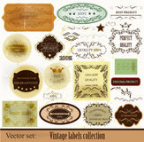 Calligraphic vector of retro labels Stock Photos