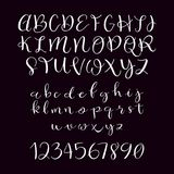Calligraphic vector script font. Upper and lower case letters set. Handwritten brush calligraphy Stock Image