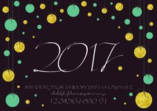 2017 Calligraphic vector script font. image of handwritten, brush. calligraphy, gold glitter sketch texture. 2017 vector image of handwritten, brush. calligraphy Royalty Free Stock Photos