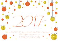2017 Calligraphic vector script font. image of handwritten, brush. calligraphy, gold glitter sketch texture. 2017 vector image of handwritten, brush. calligraphy Royalty Free Stock Photo