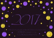 2017 Calligraphic vector script font. image of handwritten, brush. calligraphy, gold glitter sketch texture. 2017 vector image of handwritten, brush. calligraphy Stock Images