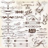 Calligraphic vector vintage design elements and page decorations. Vector set of calligraphic elements for design. Calligraphic vector Stock Photo