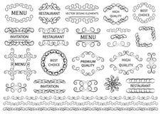 calligraphic vektor för designelementbild Dekorativa virvlar eller snirklar, tappning inramar, krusidullar, etiketter och avdelar vektor illustrationer