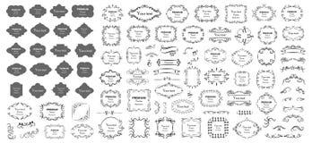 calligraphic vektor f?r designelementbild Dekorativa virvlar eller snirklar, tappning inramar, krusidullar, etiketter och avdelar vektor illustrationer