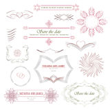 Calligraphic vignette. Calligraphic decor vignette, elements and frames vector illustration