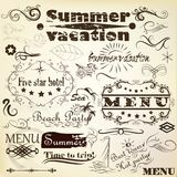 Calligraphic vintage design elements summer and vacation time Stock Photography
