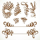 Calligraphic vintage elegant curls elements set Royalty Free Stock Photos