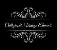 Calligraphic vintage elements. Hand drawn flourish filigree elements. Vector illustration. Calligraphic vintage elements. Hand drawn flourish filigree elements Royalty Free Stock Photography