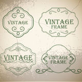 Calligraphic vintage elements on old paper background Stock Photos