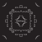 Calligraphic vintage elements. Ornaments and frame, retro style. Stock Photos