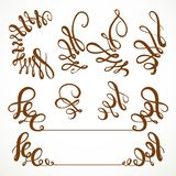 Calligraphic vintage elements set  on a white Stock Image