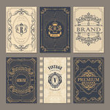 Calligraphic vintage floral cards collection Royalty Free Stock Image