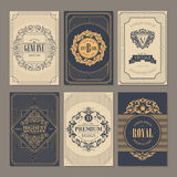 Calligraphic vintage floral cards collection Royalty Free Stock Photography