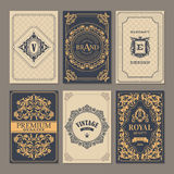 Calligraphic vintage floral cards collection Stock Photo