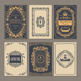 Calligraphic vintage floral cards collection Stock Images