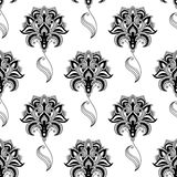 Calligraphic vintage floral seamless pattern Stock Image