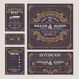 Calligraphic vintage floral wedding cards collection Royalty Free Stock Photos