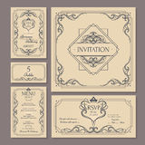 Calligraphic vintage floral wedding cards collection Stock Images