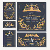 Calligraphic vintage floral wedding cards collection Royalty Free Stock Photography