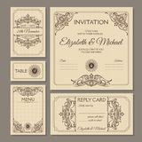 Calligraphic vintage floral wedding cards collection Royalty Free Stock Photo
