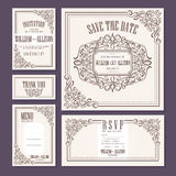 Calligraphic vintage floral wedding cards collection Stock Photos