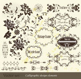 Calligraphic vintage vector elements set Stock Photography