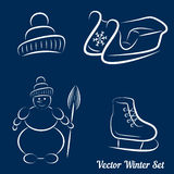 Calligraphic winter drawings on a dark blue background Stock Image