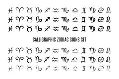 Calligraphic zodiac sign set Royalty Free Stock Image