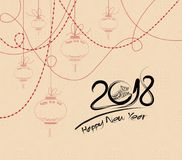 Calligraphie chinoise 2018 Le symbole chinois de zodiaque d'année de chien avec le papier a coupé l'art illustration de vecteur