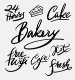 Calligraphie d'écriture de gâteau et de boulangerie images libres de droits
