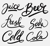 Calligraphie d'écriture de jus et de bière photographie stock