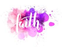 Calligraphie de foi sur l'éclaboussure d'aquarelle illustration stock
